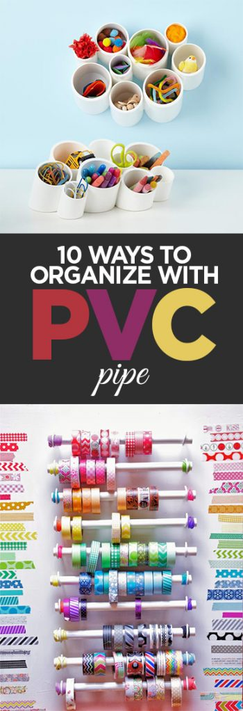 PVC Pipe, PVC pope projects, home organization, easy organization, DIY organization hacks, popular pin, storage, craft room storage ideas.