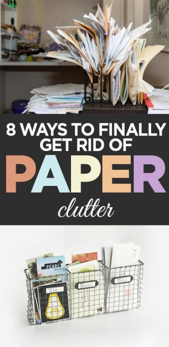 Paper clutter, getting rid of paper clutter, clutter free, popular pin, DIY organization, clutter, organization, home organization, paper free kitchen.