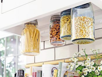 Mason jars, things to do with mason jars, mason jar organization, kitchen organization, kitchen organization hacks, popular pin, organization hacks, organization tips and tricks.
