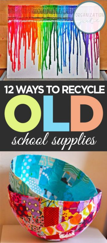 Recycling School Supplies, Craft Projects, Old School Supplies, Things to Do With Old School Supplies, School Supplies Craft Projects, Simple Craft Projects, Quick Crafts for Kids, Kids Craft Activites, Popular Pin.