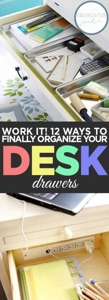 WORK IT! 12 Ways to Finally Organize Your Desk Drawers. Organization, Desk Organization, How to Organize Your Desk Drawers, Organization Hacks, Organization Tips and Tricks, Desk Organization, Desk Drawer Organization, Organization 101
