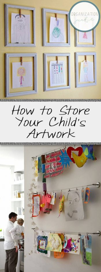 How to Store and Display Your Kids Artwork, Childrens Artwork Display, How to Organize Kids Artwork, Organize Your Home, Kid Stuff, Kids Storage, Popular Pin