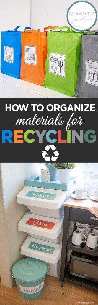 How to Organize Materials for Recycling| Home Organization, home Organization Tips and Tricks, How to Organize Recycling Supplies, Organize Recycling Items, Home Organization and Storage, Home Storage, Popular Pin