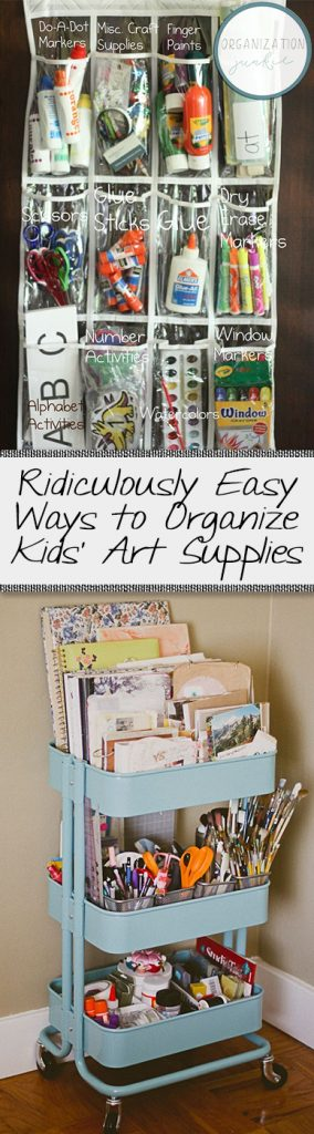 Ridiculously Easy Ways to Organize Kids' Art Supplies| Organizing Kids Art Supplies, Kids Art Supplies, Organizing Home, Organizing Art Supplies, Art Supply Organization, Kids Art, Home Organization, Home Organization Hacks, Craft Room Organization, Popular Pins