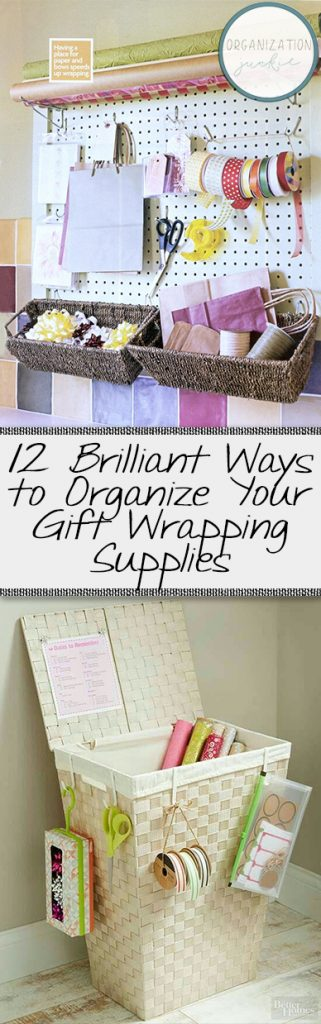 How to organize gift wrapping supplies for the holiday season.  Organize Gift Wrap, Gift Wrap Hacks, Organization, Organization Tips, Home Organization, Declutter Your Home, How to Declutter Your Home #Organization #HomeOrganization #ClutterFree