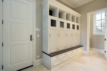 mudroom organization-wall for the kids with cubbies and and bencg