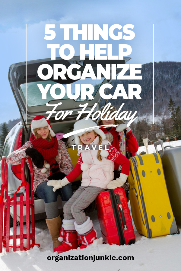 Driving somewhere for the holidays? We've got some awesome tips for keeping you car organized while you are on the road. Tips and tricks for the trunk, console and for kids. Enjoy your drive this holiday season and take the stress out of being in a car that is unorganized. Happy holidays and keep reading for more organization tips from Organization Junkie. #holidaytravel #organizationtipsforthecar