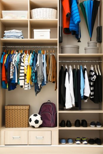 If your kid has a small closet, it's important to keep it organized. Check out these simple small bedroom storage solutions for kids.