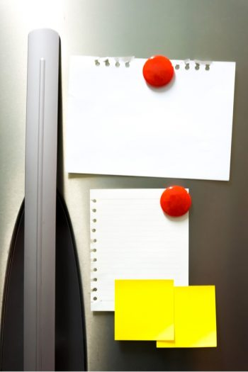 If you're looking for more ways to help organize your life, try organizing with magnets. In the kitchen, it can help keep all of your papers in the same place.