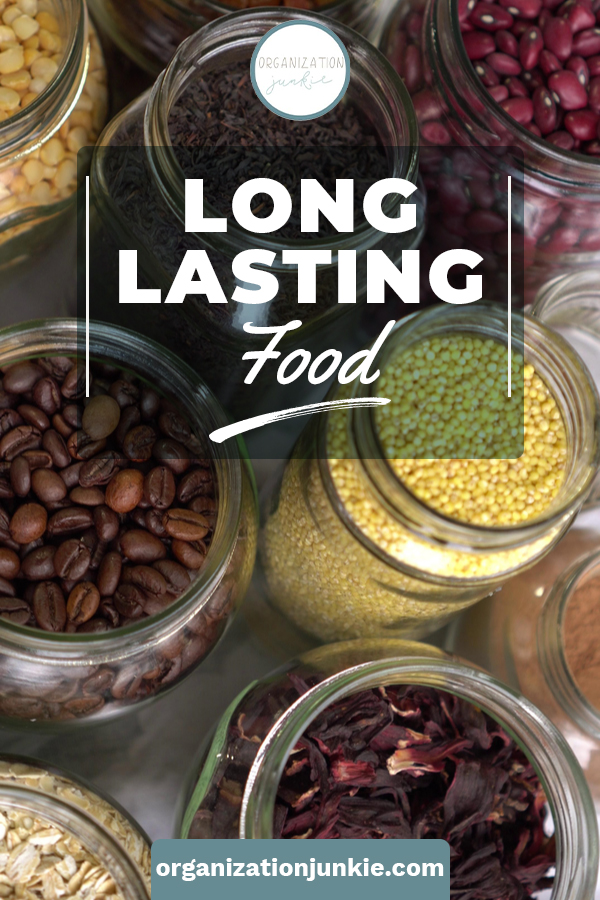 A good COVID-19 defense plan requires the right long lasting foods. Add these long lasting foods to your pantry to make sure you and your family are fed, even when shelves are empty at the grocery store. #organizationjunkieblog #COVID19 #longlastingfood #foodstorage