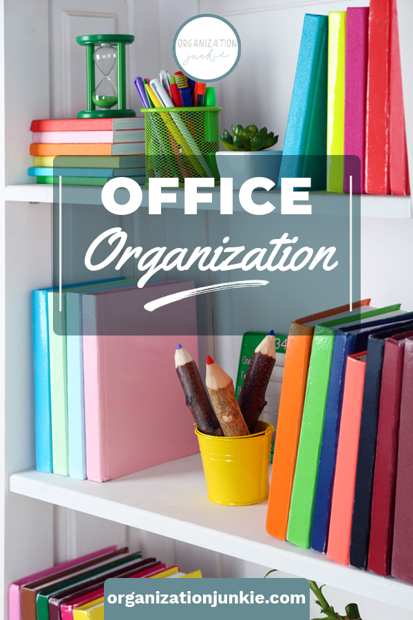With the right home office organization, working from home can be more efficient--and even enjoyable. Smart organization hacks help you organize your files, your office supplies, and keep better track of your ongoing projects. #organizationjunkieblog #homeofficeorganization
