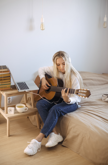 You may be wondering how to create a hobby space in your home? It can be tricky! I'll help you with some makeover magic so you can find a peaceful place to play your guitar!
