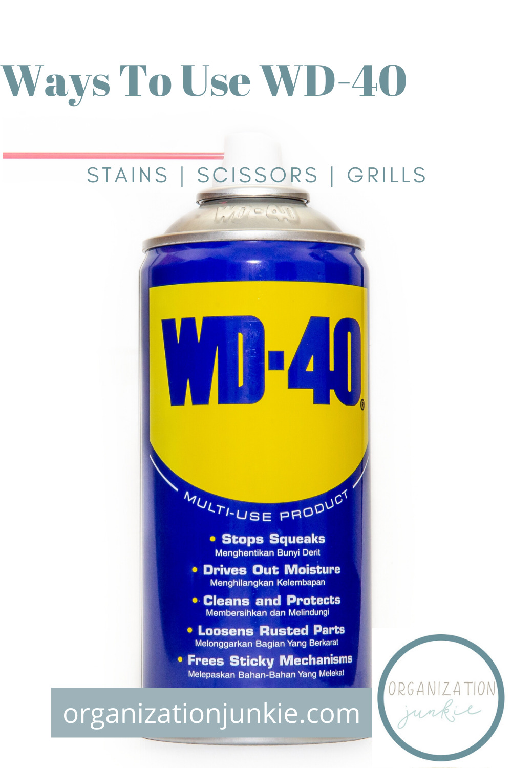 If you're like the majority of the world, you're always looking for cleaning tips! Did you know that WD-40 can help you clean your bathroom? See how! #waystousewd40 #cleaningtips #cleaninghacks #organizationjunkieblog