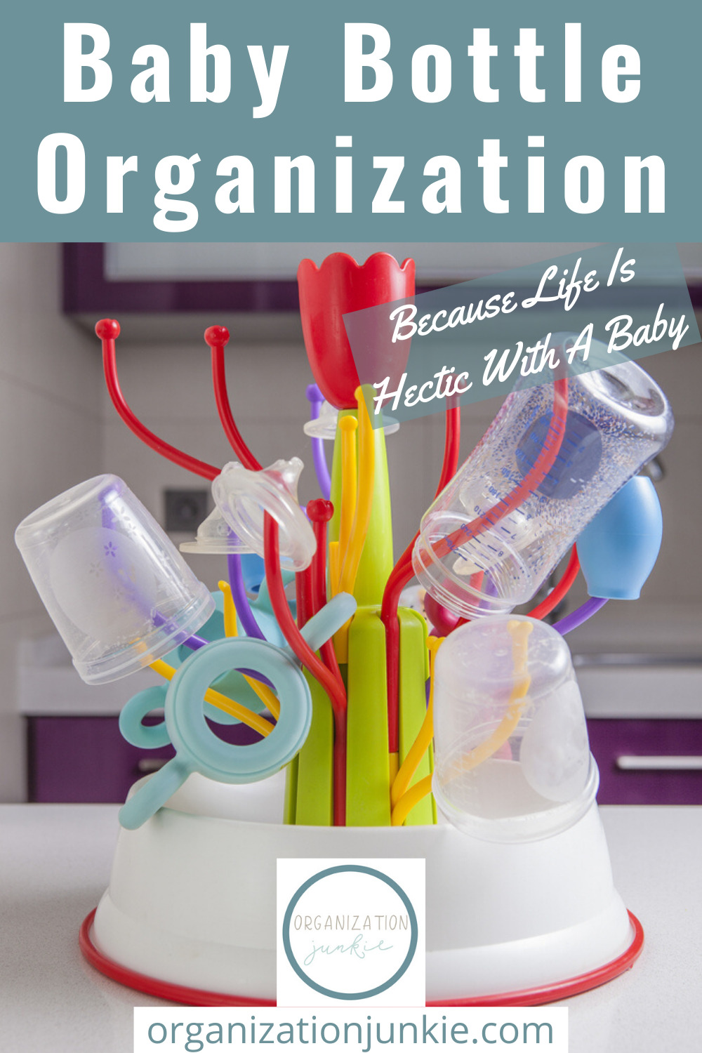 Baby bottle organization ideas for every Mom! Baby bottles easily take over your kitchen if you let them. Instead, learn about 8 products to help you take control of the baby bottles once and for all! #organizationjunkieblog #babybottleorganization