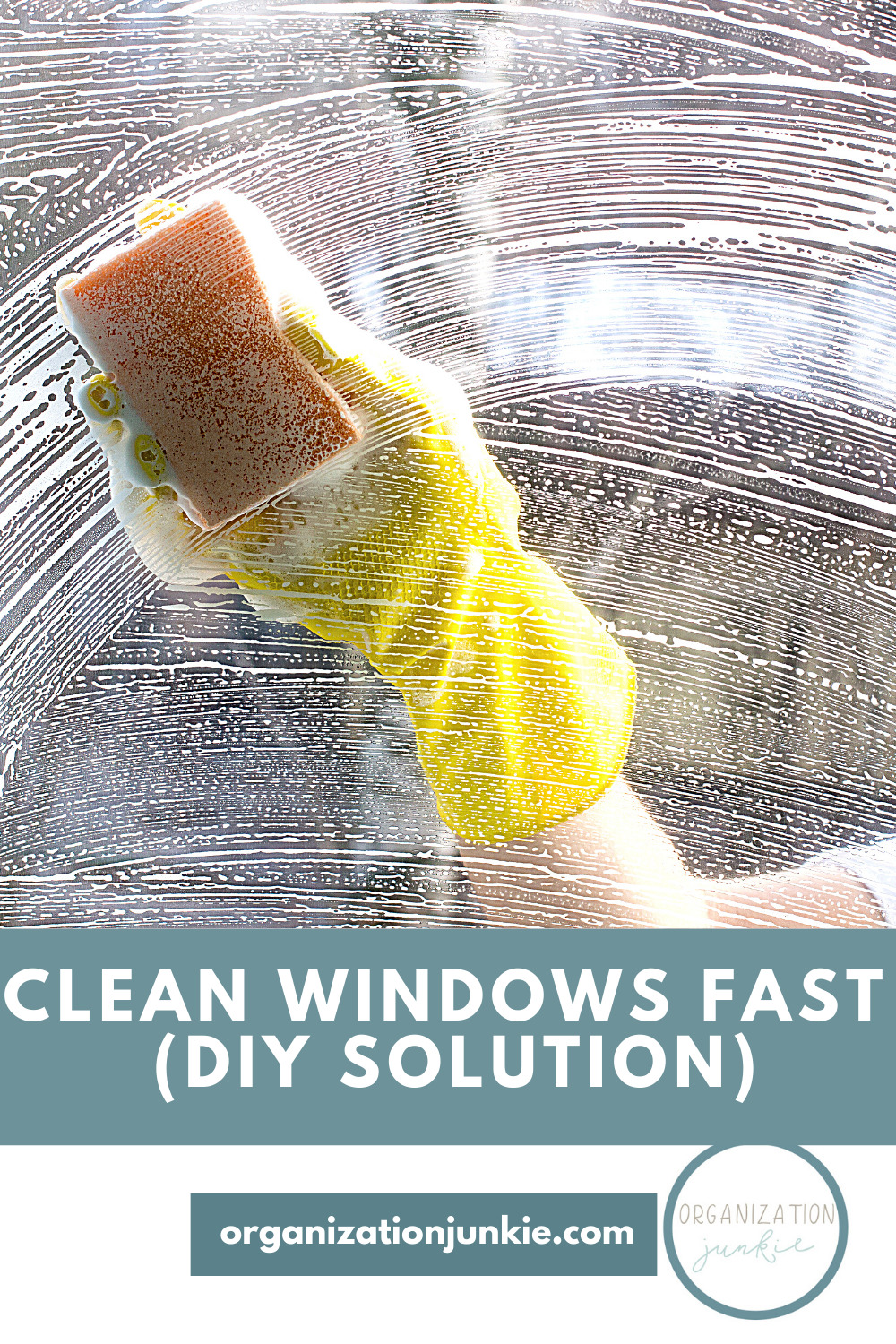 You don't need a towel to clean windows fast. All you need is a simple homemade window cleaning solution, a sponge, and your garden hose. Just spray and walk away! #organizationjunkieblog #cleanwindowsfast #homemadewindowcleaner