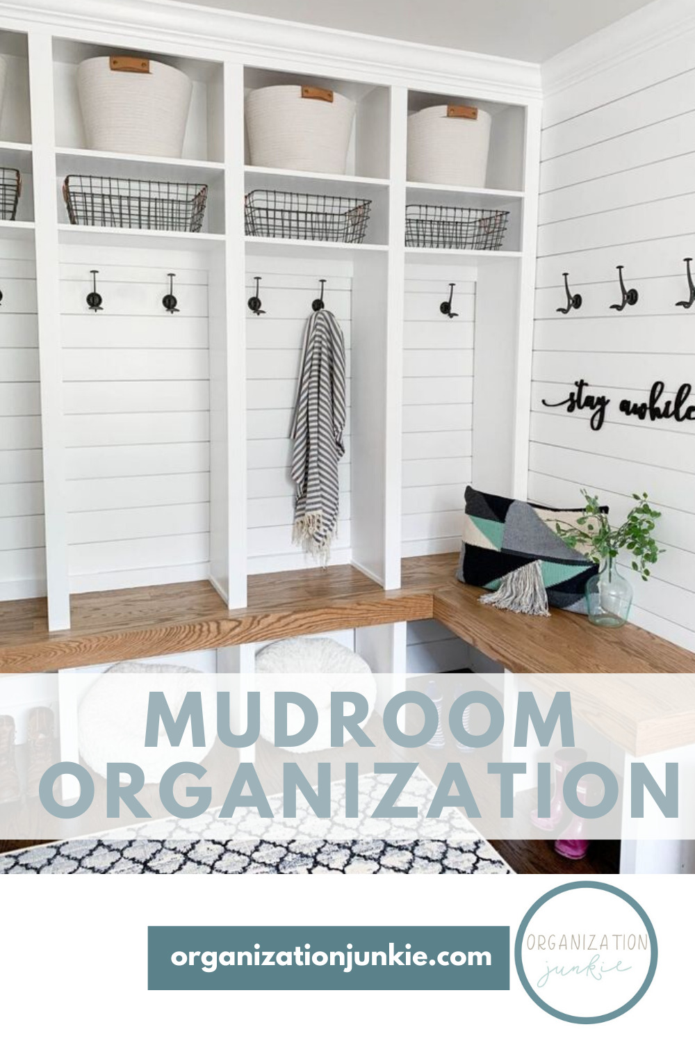 A mud room is great. Everyone can come in and take off their shoes, drop their backpacks and coats and not track junk into the rest of the house. But, if not organized the mud room can become a disaster. Read this post to learn how to get your mud room organized so you love it. #mudroomideas #organizatontips #organizationjunkieblog
