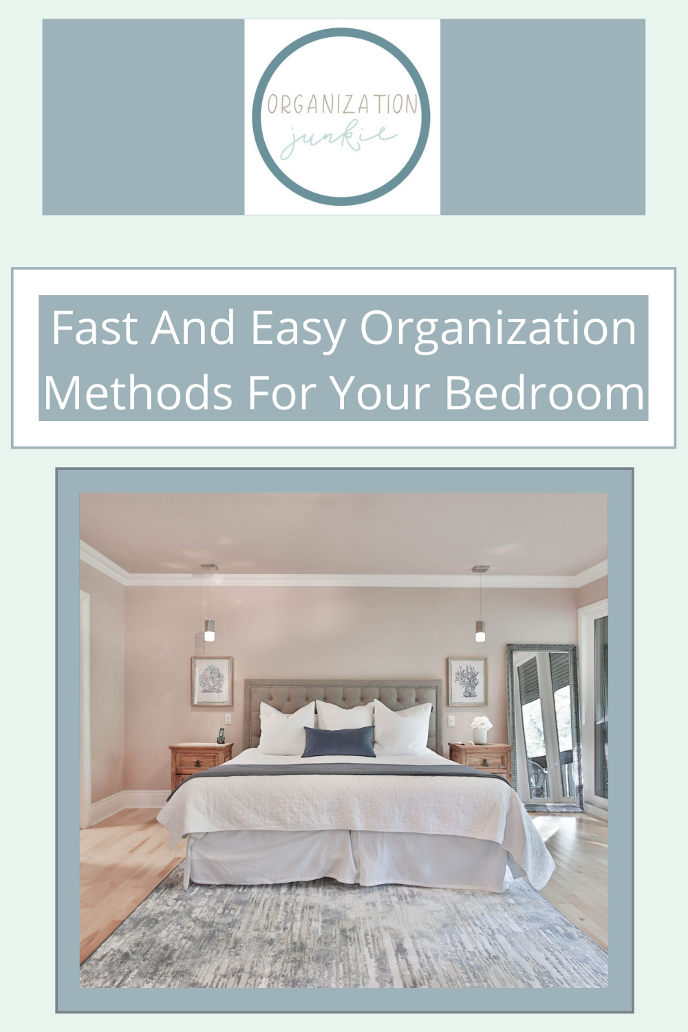 Organizationjunkie.com is stacked with creative ideas for keeping a clean and organized space. Find out how you can wipe out clutter in an instant. These clever ideas will have your bedroom totally organized in no time!