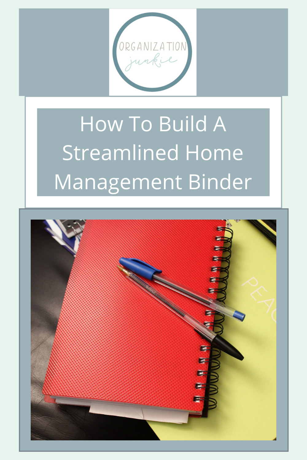 Organizationjunkie.com makes organizing your entire life easier than ever! Find creative ways to stay on top of day-to-day clutter. Make things easier by keeping a straightforward home management binder!