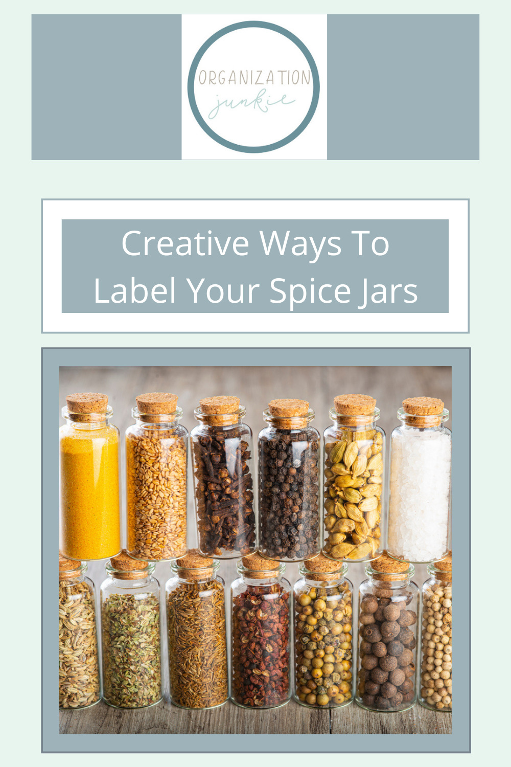 Organizationjunkie.com makes organizing your entire life easier than ever! Find creative ways to stay on top of day-to-day clutter. Make things easier by using these clever spice jar labels!