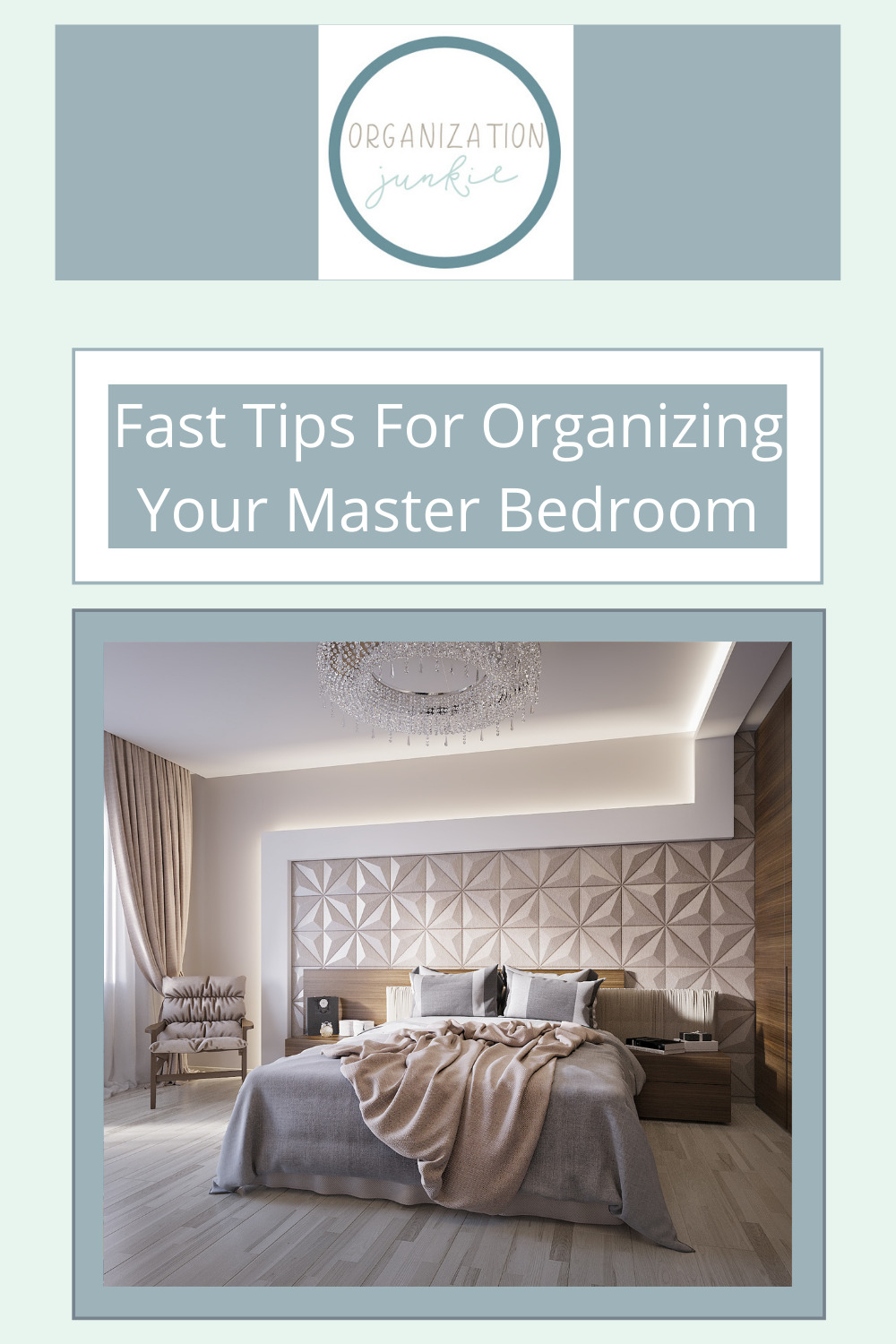 Organizationjunkie.com is stacked with creative ideas for keeping a clean and organized space. Find out how you can wipe out clutter in an instant. These clever ideas will have your master bedroom totally organized in no time!