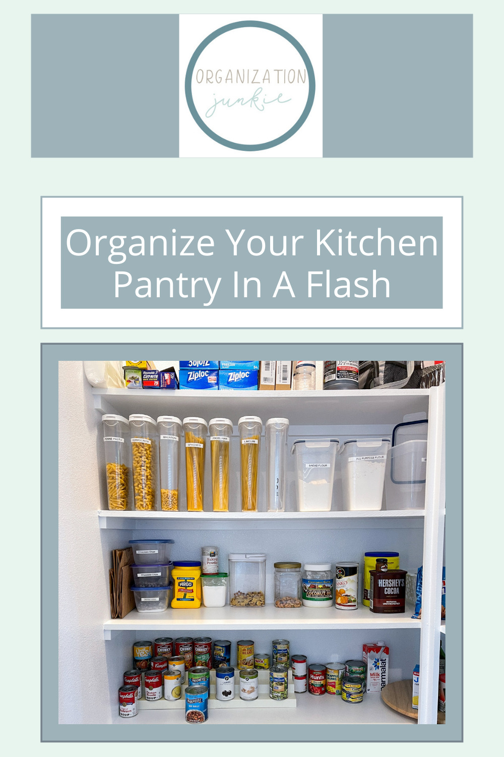Organizationjunkie.com is stacked with creative ideas for keeping a clean and organized space. Find out how you can wipe out clutter in an instant. These clever ideas will have your kitchen pantry totally organized in no time!