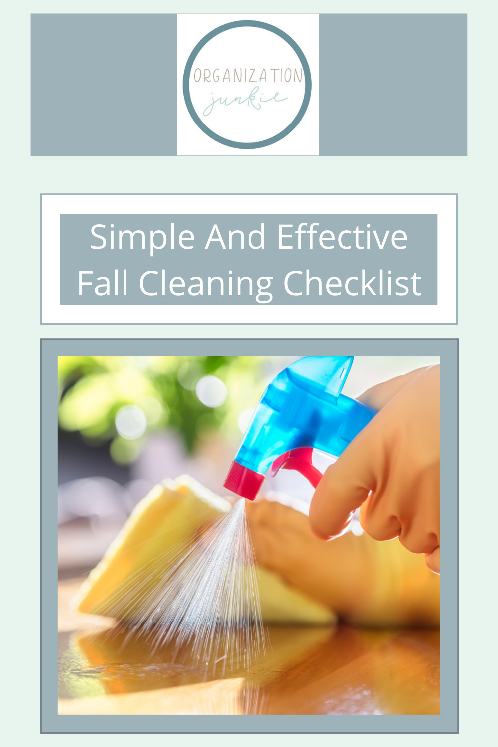 Organizationjunkie.com is stacked with creative ideas for keeping a clean and organized space. Find out how you can wipe out clutter in an instant. This checklist will make your fall cleaning an absolute breeze!